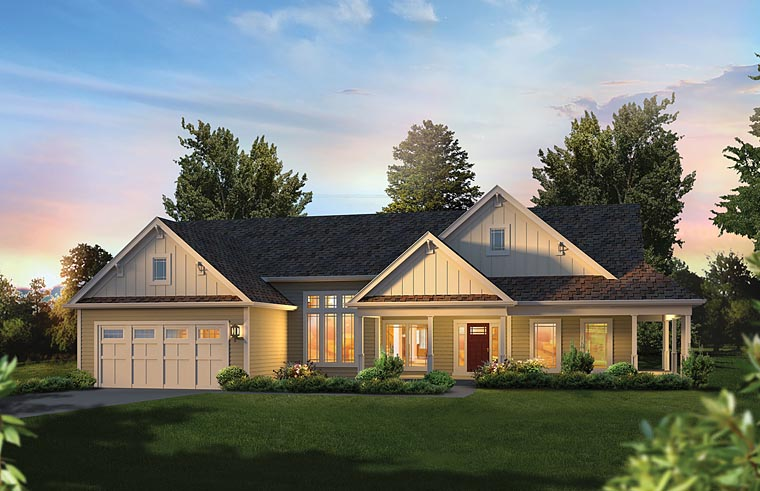 Country Craftsman House Plan 95974 Elevation