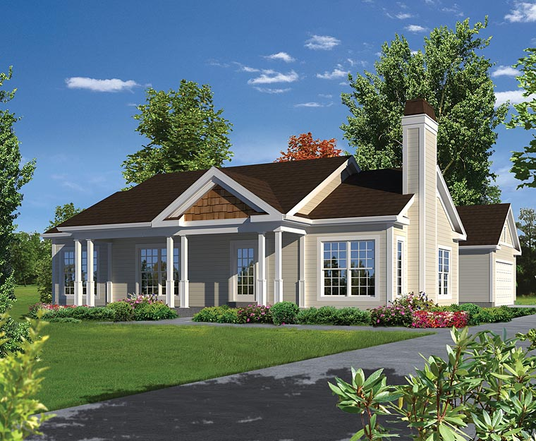Traditional , Ranch House Plan 95979 with 3 Beds, 2 Baths, 2 Car Garage Elevation