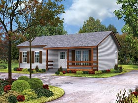 Cabin , Country , Ranch , Southern House Plan 95980 with 2 Beds, 1 Baths Elevation