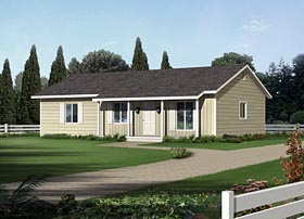 House Plan 95984 | Country Ranch Style Plan with 1288 Sq Ft, 3 Bedrooms, 2 Bathrooms Elevation