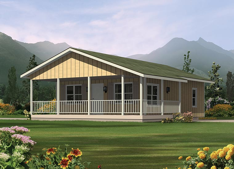 Contemporary House Plan 95985 with 2 Beds, 1 Baths Front Elevation