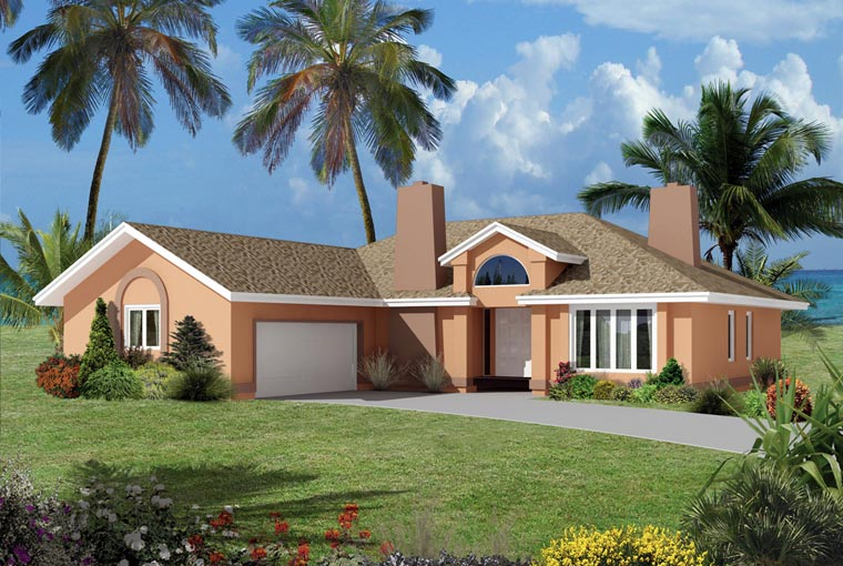 Contemporary, Florida House Plan 95991 with 3 Beds, 2 Baths, 2 Car Garage Elevation