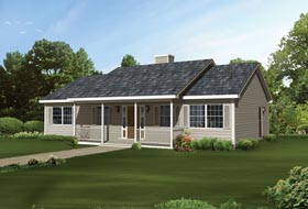 Ranch , Cabin House Plan 95992 with 3 Beds, 2 Baths Elevation