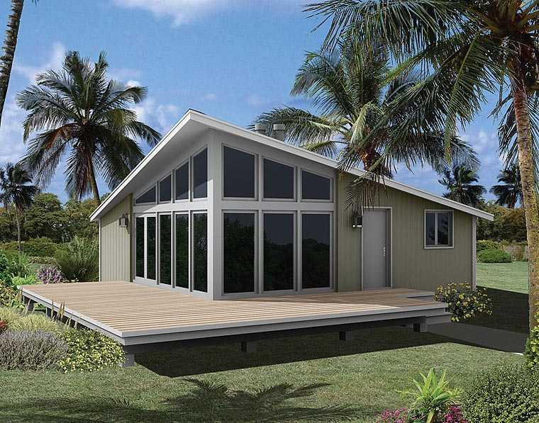 Coastal, Contemporary House Plan 95996 with 3 Beds, 1 Baths Elevation