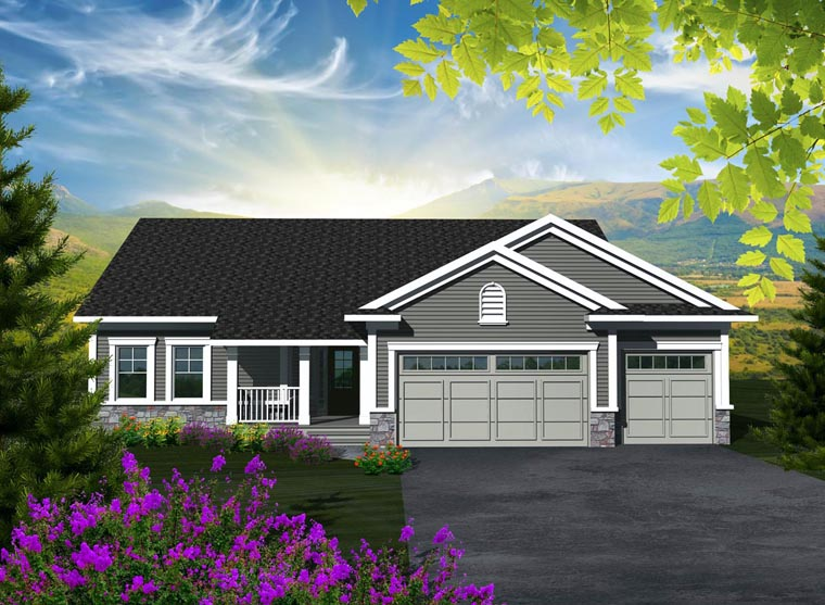 Ranch House Plan 96100 with 3 Beds, 2 Baths, 3 Car Garage Elevation