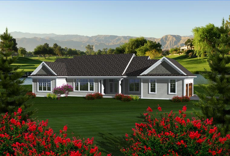 House Plan 96104 | Craftsman Ranch Style Plan with 2164 Sq Ft, 3 Bedrooms, 3 Bathrooms, 3 Car Garage Rear Elevation