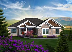 Ranch House Plan 96105 with 2 Beds, 3 Baths, 3 Car Garage Elevation