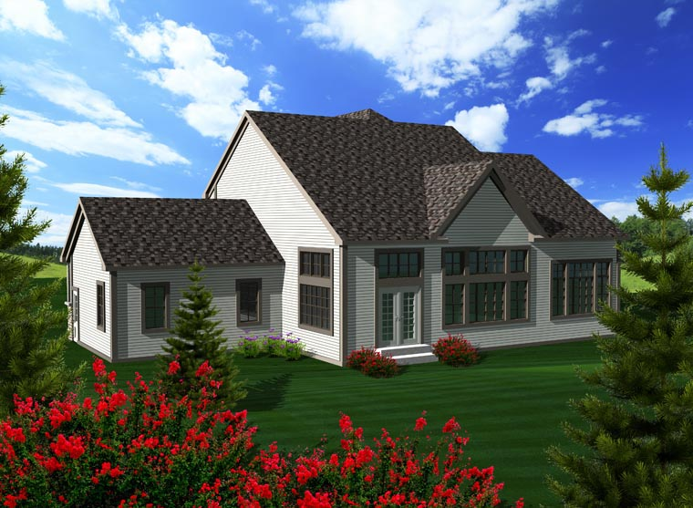 House Plan 96108 with 3 Beds, 3 Baths, 2 Car Garage Rear Elevation