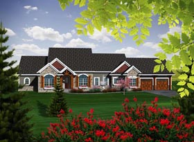 Ranch House Plan 96109 with 2 Beds, 3 Baths, 2 Car Garage Elevation