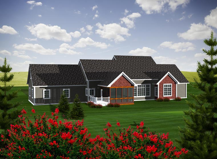 Ranch House Plan 96109 with 2 Beds, 3 Baths, 2 Car Garage Rear Elevation