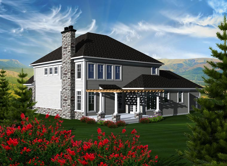 House Plan 96112 with 3 Beds, 4 Baths, 4 Car Garage Rear Elevation
