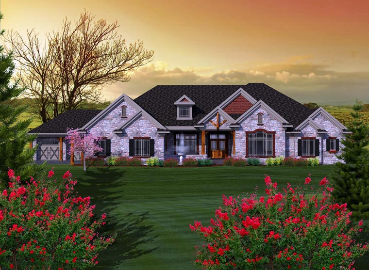 House Plan 96115 | Ranch Style Plan with 3794 Sq Ft, 3 Bedrooms, 4 Bathrooms, 4 Car Garage Elevation