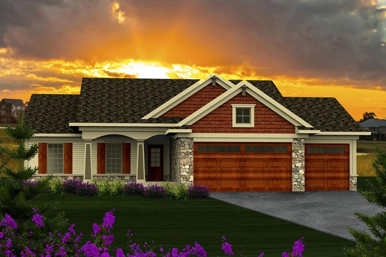 Ranch House Plan 96120 with 3 Beds, 2 Baths, 3 Car Garage Elevation