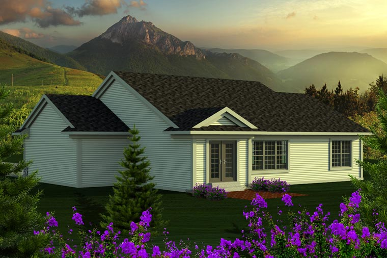 Ranch House Plan 96120 with 3 Beds, 2 Baths, 3 Car Garage Rear Elevation