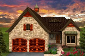 Ranch House Plan 96122 with 2 Beds, 2 Baths, 2 Car Garage Elevation