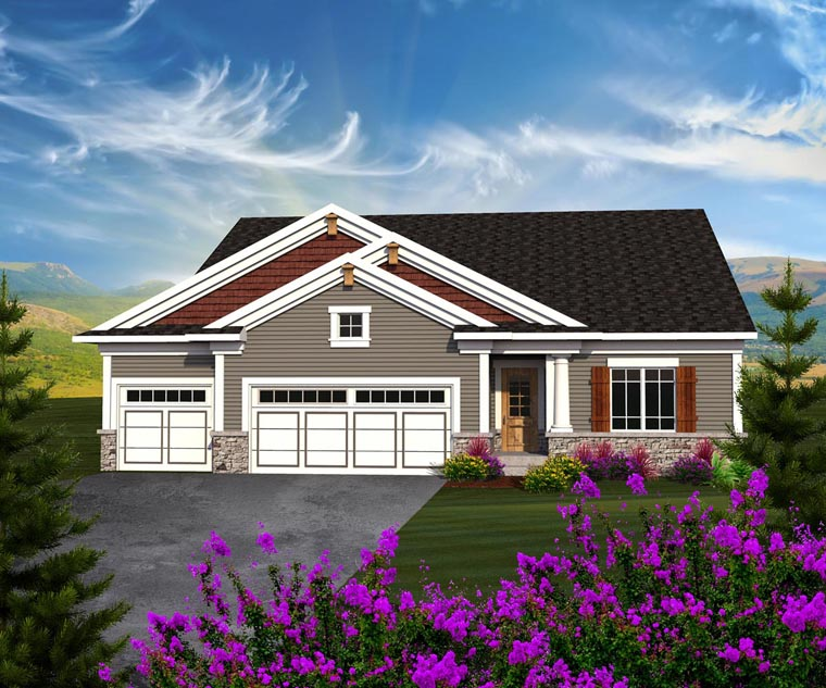 Ranch House Plan 96123 with 3 Beds, 2 Baths, 3 Car Garage Elevation