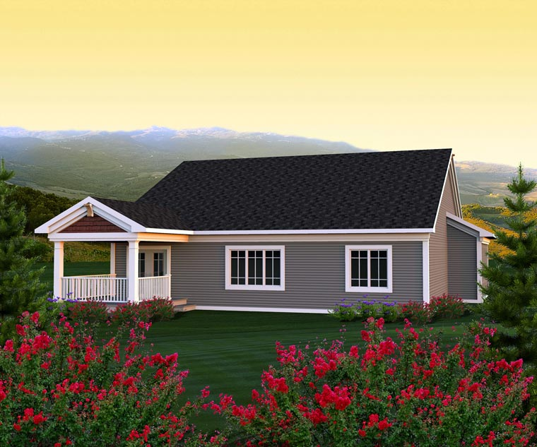 Ranch House Plan 96123 with 3 Beds, 2 Baths, 3 Car Garage Rear Elevation