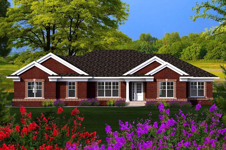 Ranch House Plan 96126 with 3 Beds, 2 Baths, 2 Car Garage Front Elevation