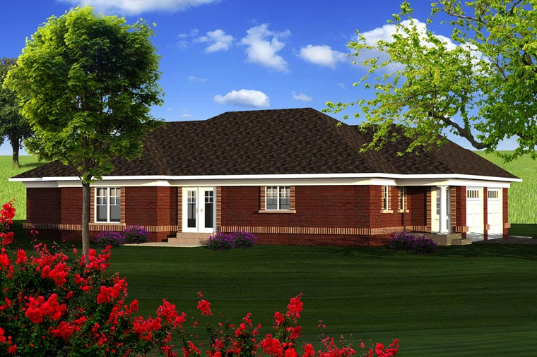 Ranch House Plan 96126 with 3 Beds, 2 Baths, 2 Car Garage Rear Elevation