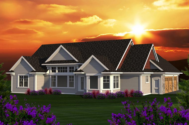 Ranch Rear Elevation of Plan 96129