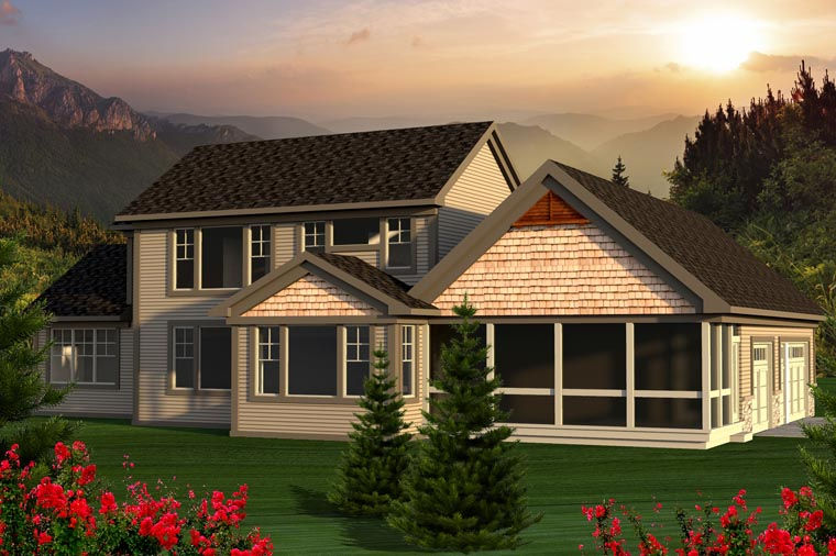 Traditional House Plan 96130 with 3 Beds, 3 Baths, 3 Car Garage Rear Elevation