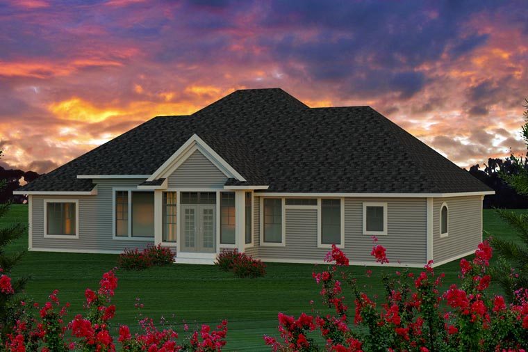 House Plan 96131 | Ranch Style Plan with 2291 Sq Ft, 3 Bedrooms, 2 Bathrooms, 3 Car Garage Rear Elevation