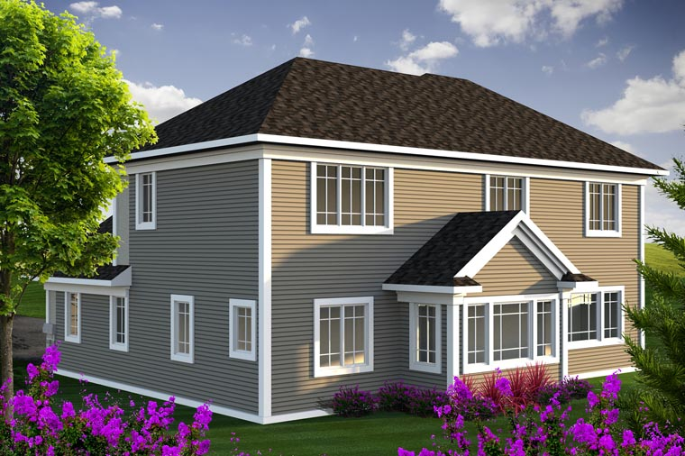 House Plan 96132 | Traditional Style Plan with 2330 Sq Ft, 3 Bedrooms, 3 Bathrooms, 3 Car Garage Rear Elevation