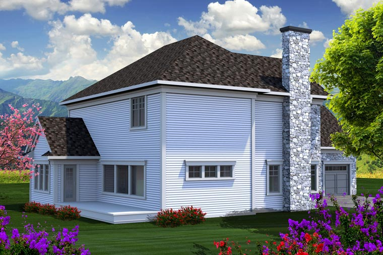Traditional House Plan 96135 with 3 Beds, 3 Baths, 3 Car Garage Rear Elevation