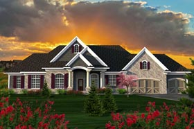Ranch House Plan 96137 with 3 Beds, 3 Baths, 3 Car Garage Elevation
