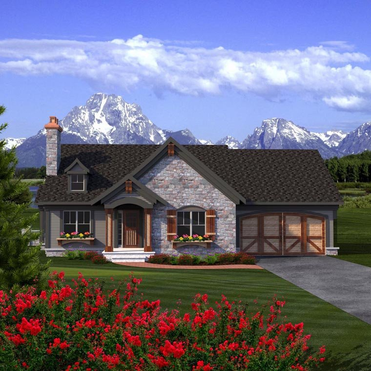 Ranch House Plan 96150 with 2 Beds, 2 Baths, 2 Car Garage Elevation