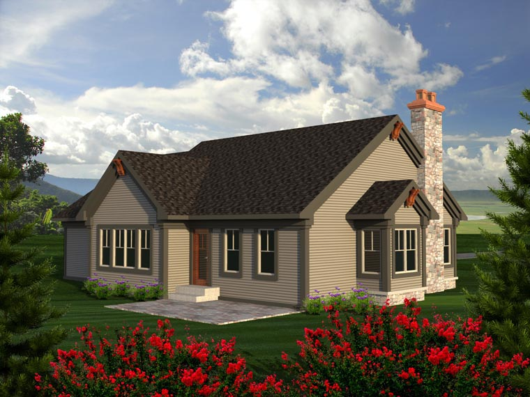 Ranch House Plan 96150 with 2 Beds, 2 Baths, 2 Car Garage Rear Elevation
