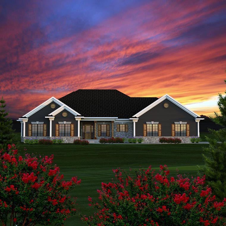 Ranch , Traditional , Elevation of Plan 96152