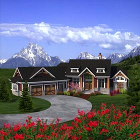 Ranch House Plan 96153 with 2 Beds, 2 Baths, 2 Car Garage Elevation