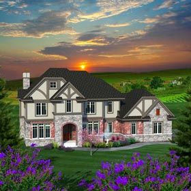 House Plan 96166 | Traditional Style Plan with 4928 Sq Ft, 4 Bedrooms, 5 Bathrooms, 3 Car Garage Elevation