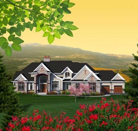 House Plan 96167 | Traditional Style Plan with 5050 Sq Ft, 4 Bedrooms, 4 Bathrooms, 4 Car Garage Elevation