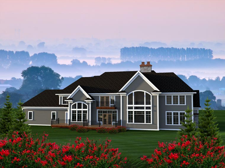 Traditional House Plan 96167 with 4 Beds, 4 Baths, 4 Car Garage Rear Elevation