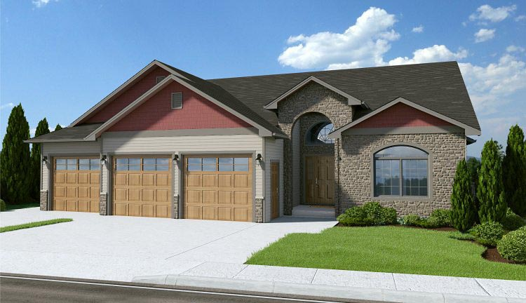 Craftsman House Plan 96200 with 2 Beds, 2 Baths, 3 Car Garage Elevation