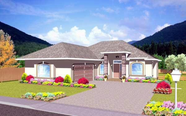 Traditional House Plan 96210 with 3 Beds, 2 Baths, 2 Car Garage Front Elevation