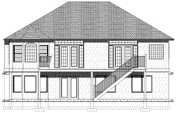 Traditional House Plan 96210 with 3 Beds, 2 Baths, 2 Car Garage Rear Elevation