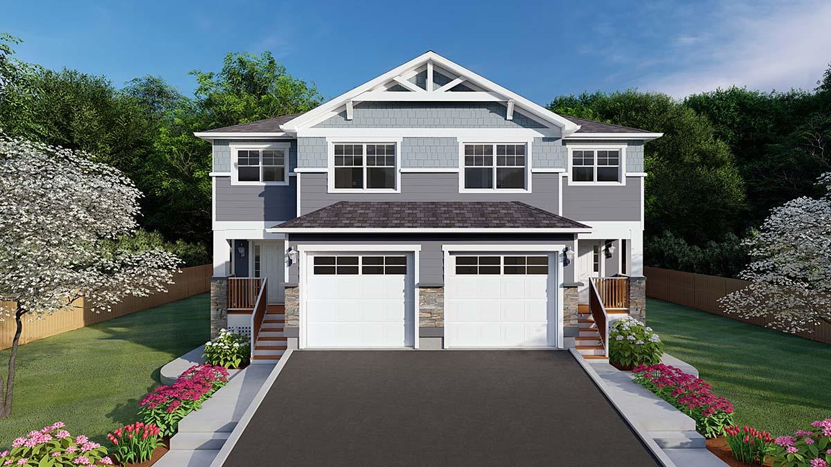 Craftsman Multi-Family Plan 96213 Elevation