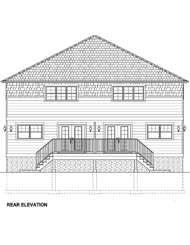 Craftsman Multi-Family Plan 96213 Rear Elevation