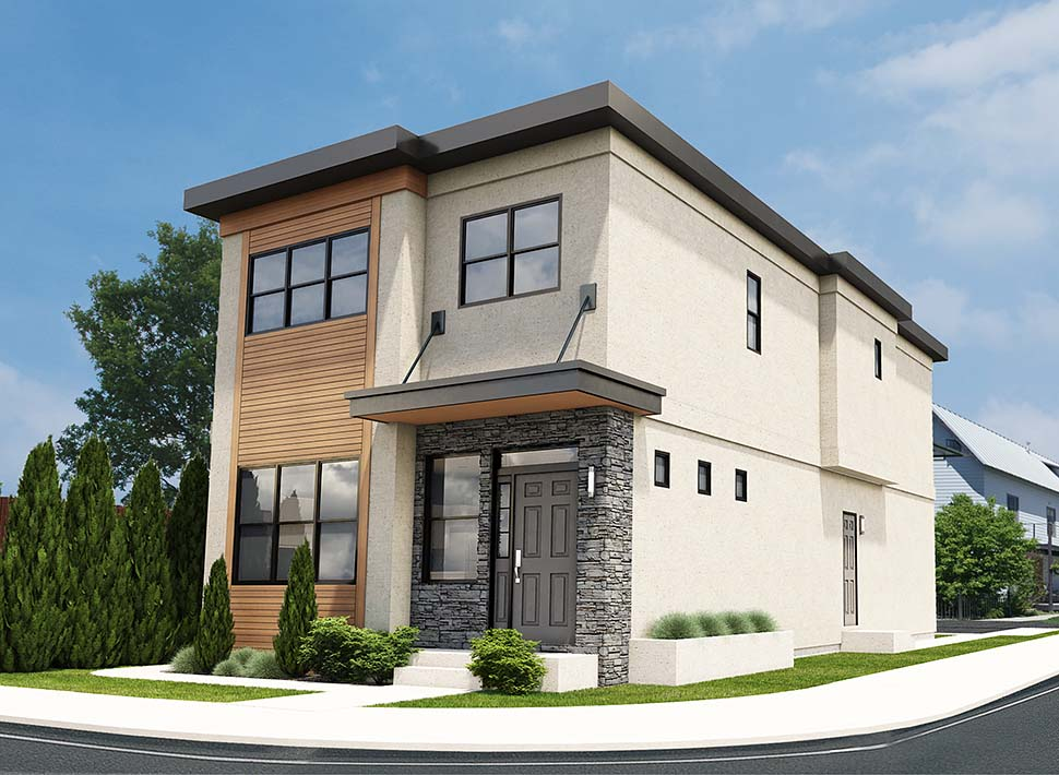 Contemporary Multi-Family Plan 96218