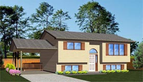 House Plan 96221 | Ranch, Retro Style House Plan with 875 Sq Ft, 2 Bed, 1 Bath, 1 Car Garage Elevation
