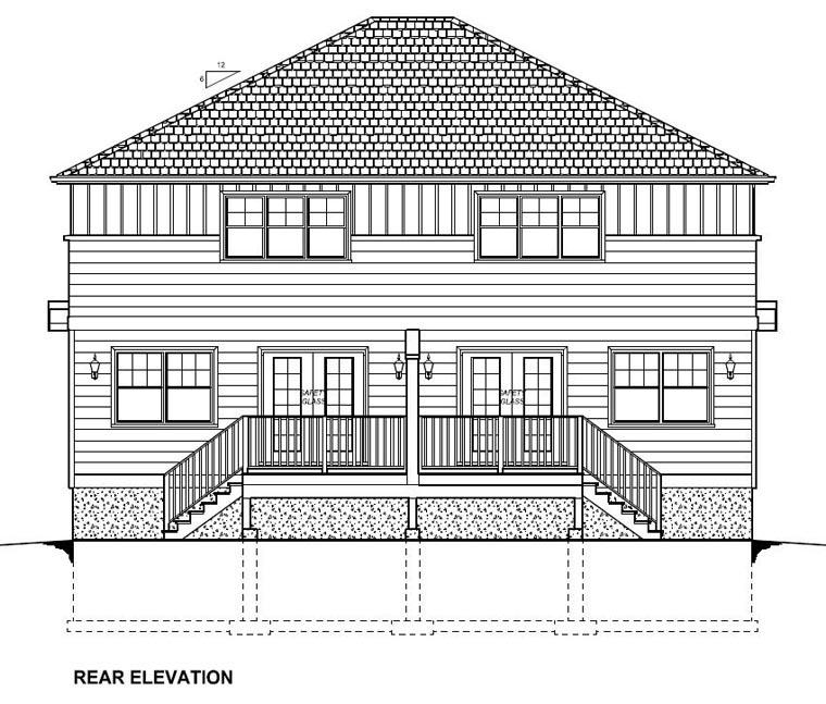 Craftsman Multi-Family Plan 96222 Rear Elevation