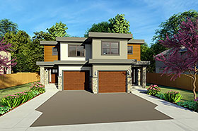 Multi-Family Plan 96223 | Contemporary Style Plan with 2842 Sq Ft, 6 Bedrooms, 6 Bathrooms, 2 Car Garage Elevation