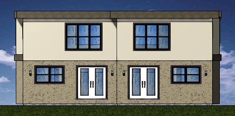 Multi-Family Plan 96223 | Contemporary Style Plan with 2842 Sq Ft, 6 Bedrooms, 6 Bathrooms, 2 Car Garage Rear Elevation