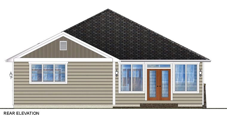 Craftsman Traditional Rear Elevation of Plan 96228