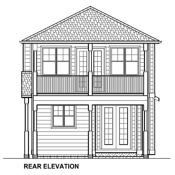 Traditional Multi-Family Plan 96230 Rear Elevation