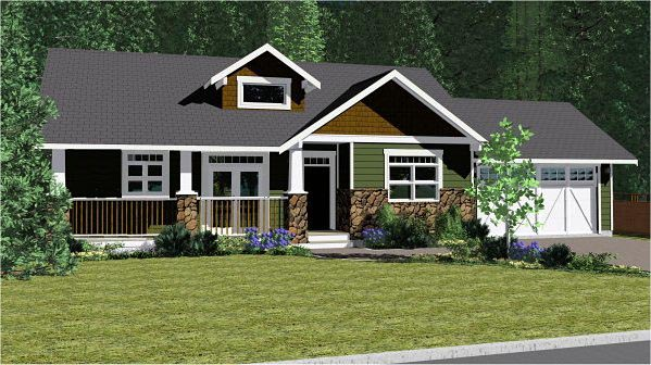 Craftsman Ranch House Plan 96233 Elevation