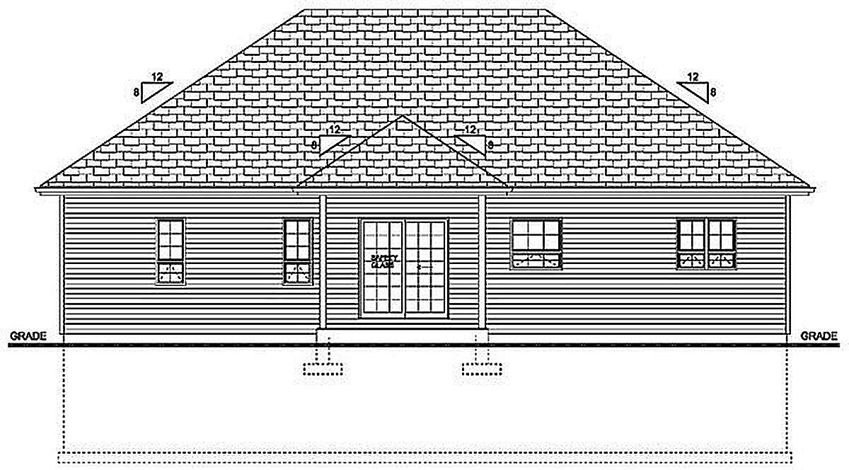 Bungalow Cottage Country Craftsman Rear Elevation of Plan 96236